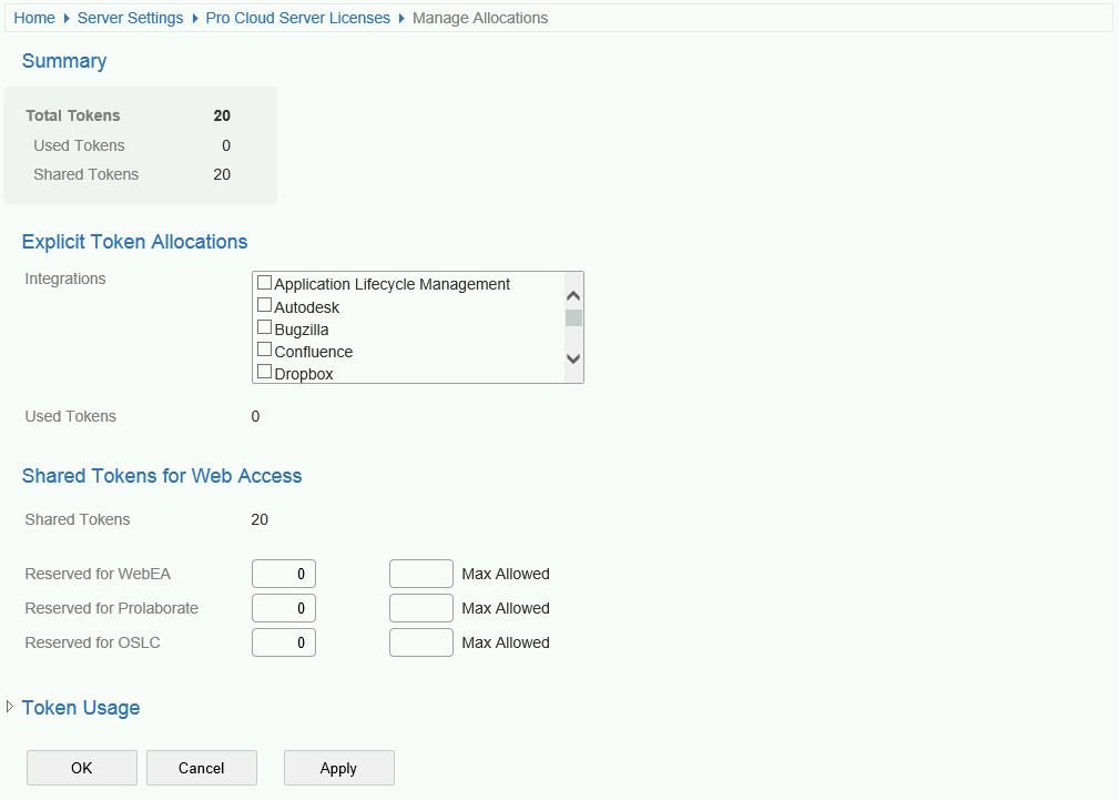 WebConfig - Token Allocations | Enterprise Architect User Guide