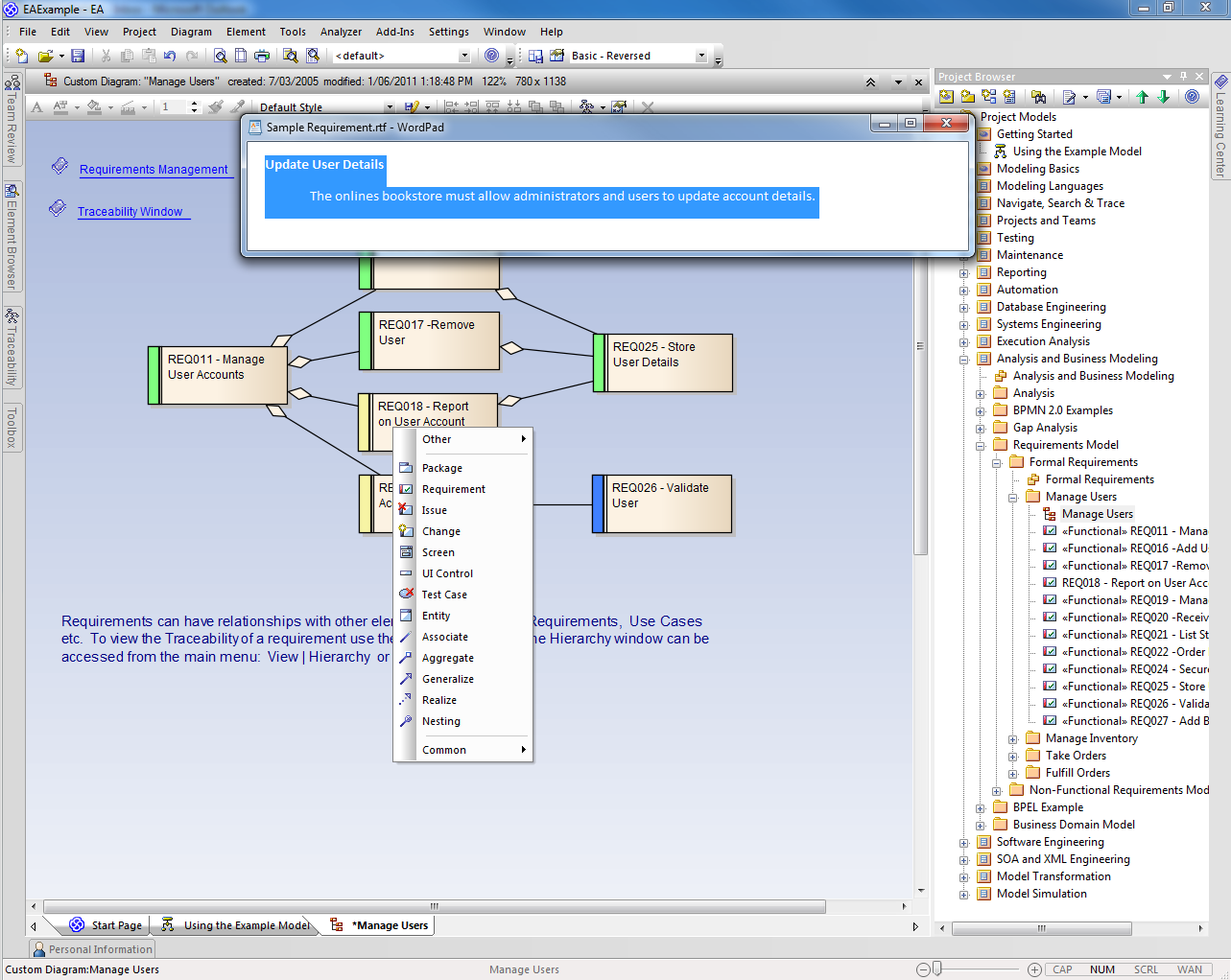 Requirements management tools for requirement modeling for Application design tools
