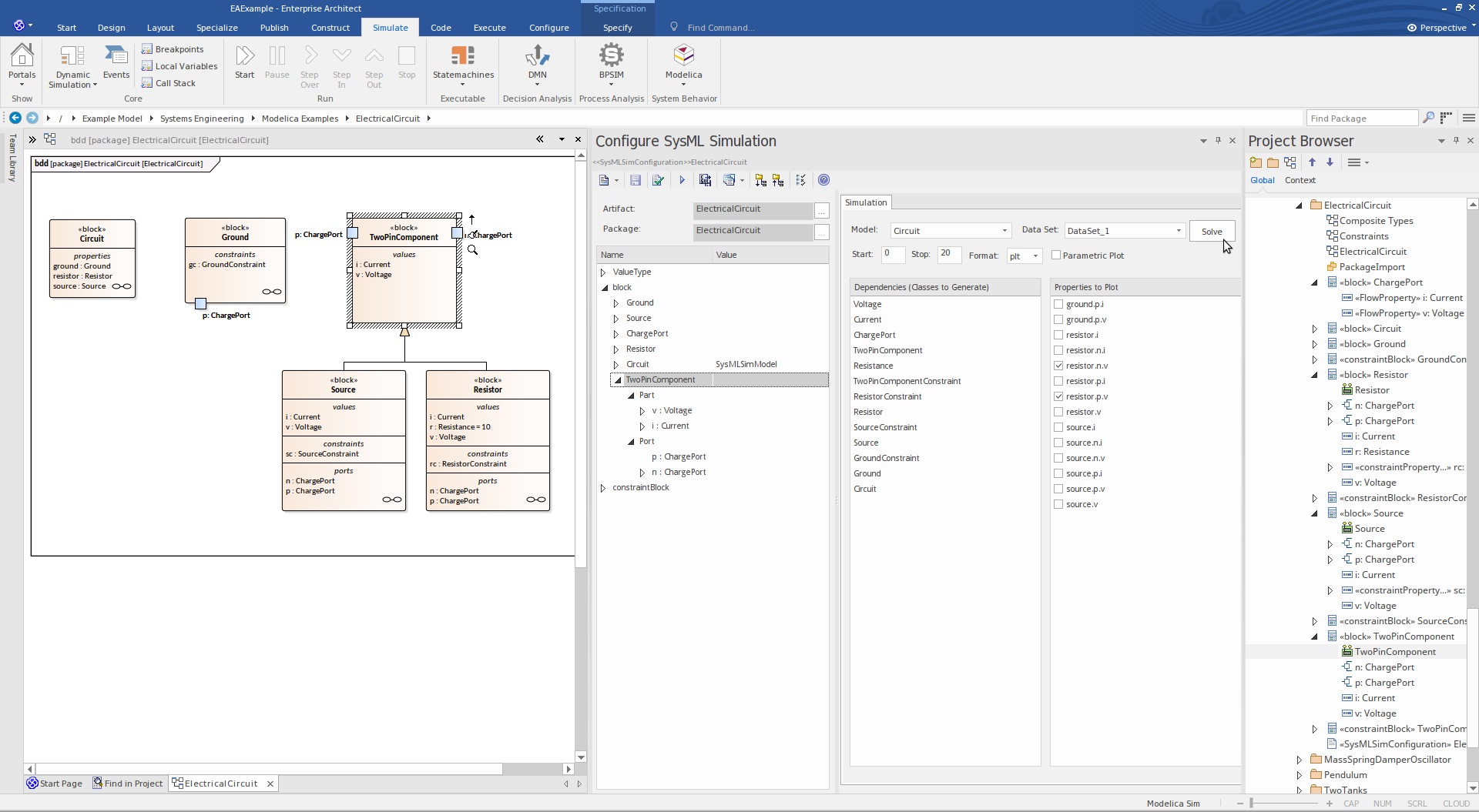 Enterprise Architect Unified Edition: Modelica Simulation