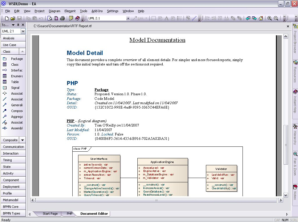 Model php uml diagrams for code engineering and generation php uml rtf view pooptronica